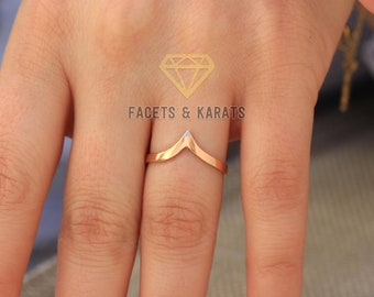 14k Solid Rose Gold V Shaped Wedding Band, Curved Wedding Band, Chevron Ring, Chevron Wedding Band Anniversary Ring Stackable Stacking Rings