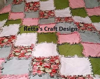 Rag Quilt, Rag Quilt Throw, Rag quilt For baby, Rag Quilt for girls, Rag Quilt for sale