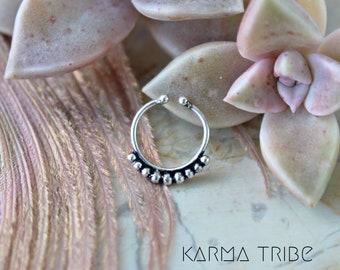 Fake indian septum ring. Tribal septum. Non pierced septum ring. Silver septum ring. German silver fake septum. Fake tribal septum ring.