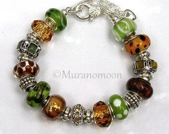 European Charm Bracelet Green Brown Gold Topaz Large Hole Glass Bead Silver Charm Bracelet Fall Bracelet For Mother Daughter Nana #EB1154