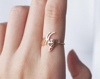 Custom Name Ring, Personalized name ring Bridesmaid Gift name ring, Handmade Ring With Unique Font Style, Family name Ring.