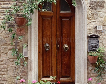 Italian Doors Print,European Photography,Italian Wall Art,Travel Photography Tuscany Italy Art Print,Doors of Italy Pots of Geranium Flowers