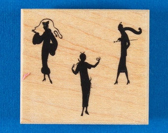 "Elegant Women Rubber Stamp - Silhouettes of Three Women in Vintage 1920s Fashions - ""Shadow Dance"" by B Line Designs"