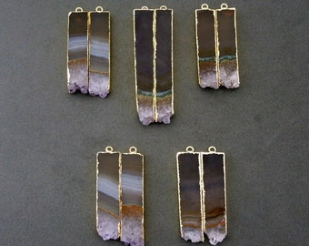 Extra Long Amethyst Slice Pairs  24k Gold Electroplated Edges- Amethyst Pendants- Matched Pairs great for Earrings-- ONE Pair ASP (S18B4-07)