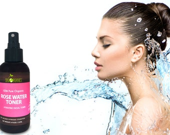 Rose Water Toner 4oz-100% Pure, Organic Distilled Rosewater Toner For Face & Hair-Gentle Facial Cleanser -Preps Dry Acne Prone Skin
