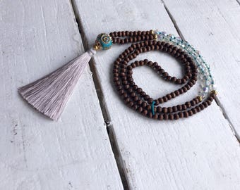 Beaded tassel necklace/ boho jewelry tassel necklace/ long tassel necklace