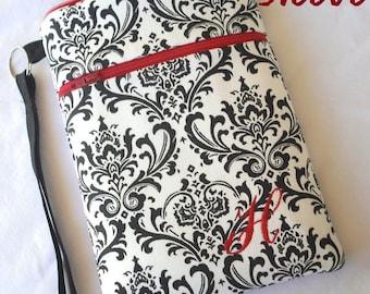 personalized SLEEVE cover for ipad / ipad mini / kindle / nook / samsung - black white damask