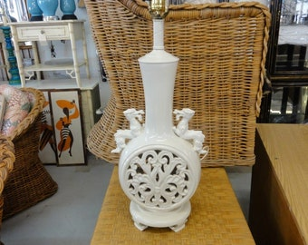 Vintage Fretwork Dragon Lamp