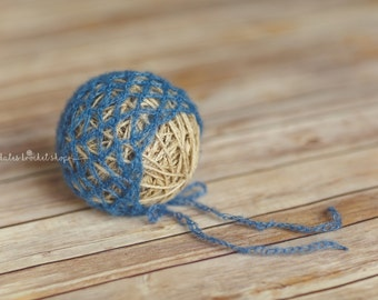 Blue Mohair Bonnet