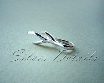 Sterling Silver 925 Asymmetric Branch Pinch Bail for Pendant with Swarovski Crystals Finding reference code B131S