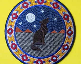 Extra Large Embroidered Coyote Applique Patch Southwestern Desert Design, Iron On or Sew On Patch, Southwest, Coyote, American Indian