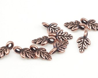 Antique Copper Leaf Charms - Oak Leaf Drop - 11mm Copper Charms Leaves for Fall Autumn Jewelry (P327)