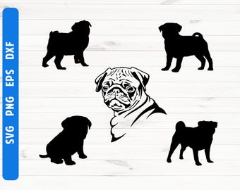 Pug silhouette SVG Pug poster Commercial use ok