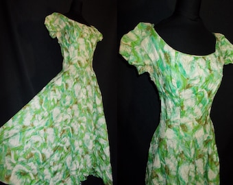 Green Floral Designer Vintage 1950's Women's GiGi Young Dress XS
