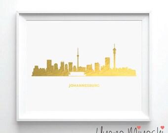Johannesburg Skyline Gold Foil Print, Gold Print, City Skyline Print in Gold, Art Print, Johannesburg Skyline Gold Foil Art Print