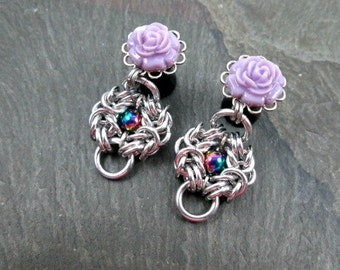 Dangle Plugs - 0g 8mm - Chainmaille Rosette - Rose Gauges - Rainbow Plugs - Flower Plugs - Chainmail Jewelry - Plug Earrings