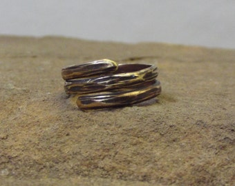 Wood Textured Brass Wrap Ring/ Antiqued/ Thumb Ring