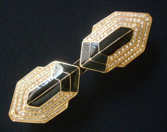 """Rarely Seen Vintage CINER Stunning Art Deco Style Buckle For 1""""W Belt Gold Tone Black Enamel Pave Crystal Rhinestone Accents Collectors Item"""