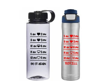Water Bottle Intake Tracker -  Decal to Track Your Water Intake - Decal Only for DIY Water Bottle, Water Bottles shown are NOT Included