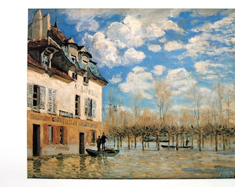 Boat in the Flood at Port Marly - Alfred Sisley - Fine Art Print - Reproduction Print form 1979 Vintage Book - 12 x 9
