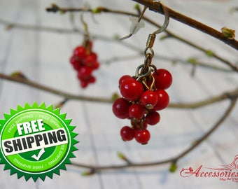 Red Cluster earrings Grape jewelry Berry Love earrings Boho Autumn jewelry Red cluster Everyday earrings Christmas Gift Idea Her Passion