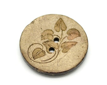 5 Large Wooden Buttons - 1 inch - 28mm - Wood Buttons - Leaf Pattern - Coconut Wood (B19208)