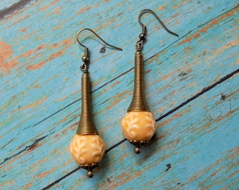 Peach and Brass Earrings (2477)