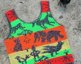 1970s Vintage Sweater Vest - Sleeveless Sweater - Cat Donkey Elephant Sun Tribal - Stripe Neon Green Orange Red - Hippie Boho - 35 Bust