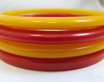 50'S VINTAGE Set of 4 Bakelite Bangle Bracelets- Red & Yellow