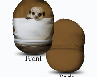 Baby Meerkat in a Tea cup Design MushCush Oval Round Cushion Great Gift Idea
