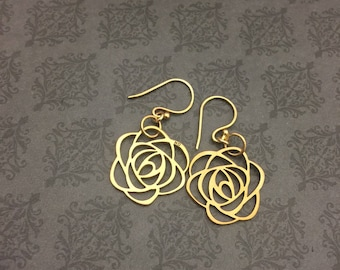 Large Rose earrings- 65 roses- BREATHE BRAVELY- Cystic Fibrosis Research- sINgSPIRE- Donation to CF- Support cf- gold roses