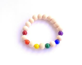 Rainbow Glass Beaded Wooden Elastic Bracelet