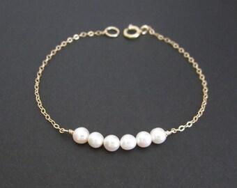 Dainty Pearl Bracelet. Sterling Silver. Gold Filled. Rose Gold. Tiny White Pearl. Delicate Pearl Bracelet. Layering Bracelet .Wedding.