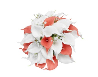 Expedite shipping from GA-Beautiful calla lily keepsake bouquets -Coral and white with baby breath accents