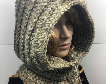 Knit Hood, Hooded Scarf, Crochet Cowl, Hood Scarf,  Crochet Hood Scarf, Knit Cowl  Color : Granite