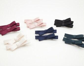 Mini Satin Bow A Set of Two Hair Clip Set Women Hair accessories