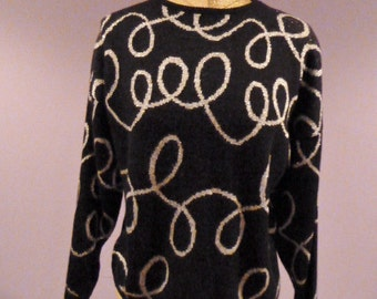 SALE darling elegant black and metallic silver knit artistic hipster retro sweater size small medium large