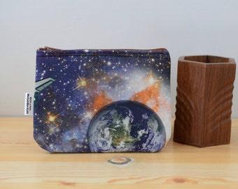 Space coin purse,starship pouch,spaceman print pouch,planets bag,space print,coin purse, fabric purse,printed bag,fabric wallet,kawaii bag