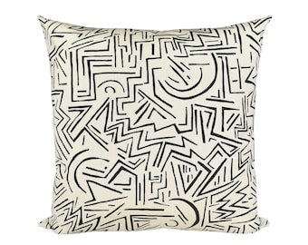 Lascaux Black on Vellum Suncloth designer pillow covers - Indoor/Outdoor - Made to Order - Alan Campbell for Quadrille