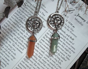 Moon and Sun Necklace, Green Aventurine, Orange Aventurine, Crystal Point Necklace, Witch Necklace