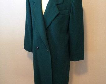 Vintage Women's Size 14 Vtg ADOLFO Green Wool Winter Coat Long Double Breasted Overcoat