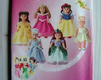 "Disney Princesses!   18"" Doll   Belle Ariel Snow White Cinderella Sleeping Beauty Tink   simplicity 1581   UC FF sewing pattern"