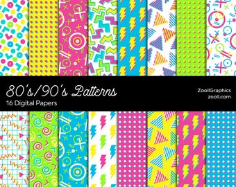 "80's/90's Patterns, Digital Paper, 16 Digital Papers 12""x12"", Photoshop Pattern File PAT Included, Seamless, Commercial Use INSTANT DOWNLOAD"