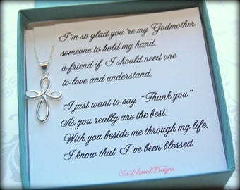 Godmother gift, necklace for Godmother, Godmothers poem, Thank you for being my Godmother, Godmother jewelry, from Godson or Goddaughter