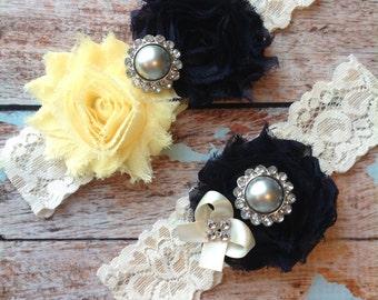 NAVY & YELLOW  wedding garter set / bridal  garter / toss garter included /  wedding garter / vintage inspired lace garter