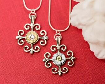 Bullet Casing Jewelry - Scroll Cross Bullet Necklace (9mm)