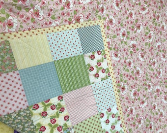Baby Girl Quilt--Baby Blanket--Ambleside--Flowers--Lattice--Squares--Stripes--Gray--Pink--Yellow--Green--Blue--Nursery Bedding, Crib Quilt
