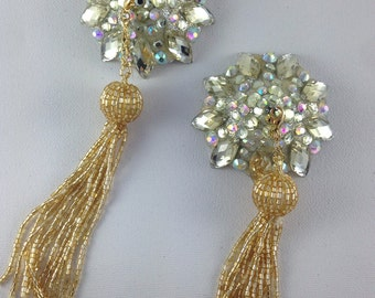 Champagne and silver pasties on silver base with gold beaded removable tassel