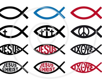 Jesus Christ digital clip art, christian clipart, fish sign, God, cross, catholic, religious icons PNG, EPS, SVG, commercial use, download