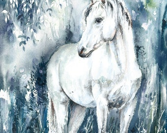 Handmade watercolor painting WHITE HORSE original watercolor GICLEE print